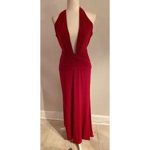 Jovani Deep Plunge Dress Red